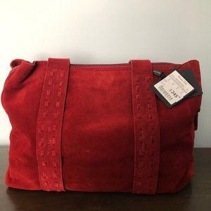 MASSIMO DUTTI red suede handbag